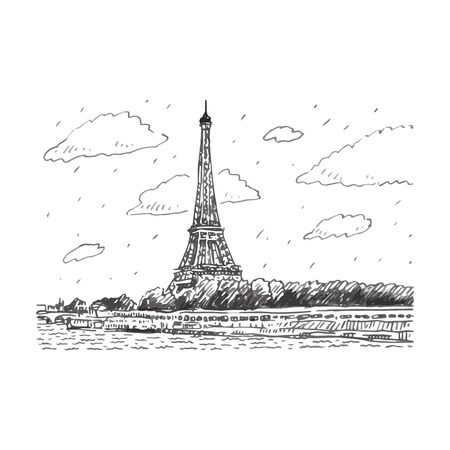 The Eiffel tower in Paris, France. Vector hand drawn sketch.