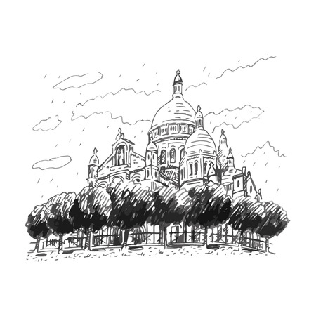 montmartre: The Basilica of the Sacred Heart of Paris, France. Vector hand drawn sketch.