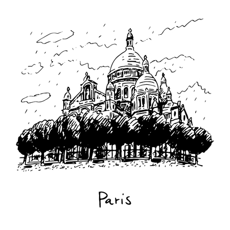 basilica: The Basilica of the Sacred Heart of Paris, France. Vector hand drawn sketch.