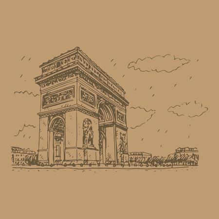 triumphe: Vector hand drawn sketch. Arc de Triomphe, Paris, France. Travel Paris icon.