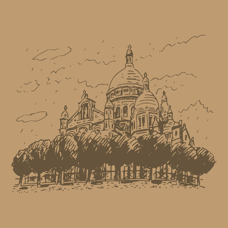 coeur: The Basilica of the Sacred Heart of Paris, France. Vector hand drawn sketch.