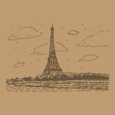 seine: The Eiffel tower in Paris, France. Vector hand drawn sketch.