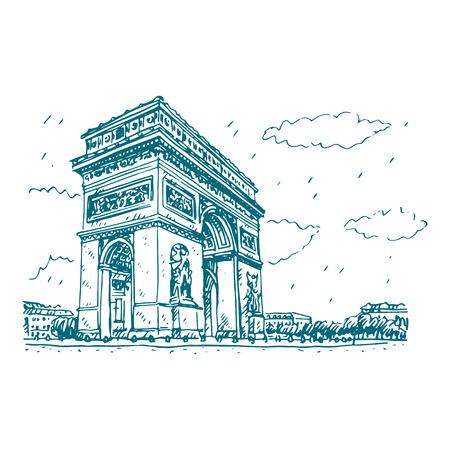 arc: Vector hand drawn sketch. Arc de Triomphe, Paris, France. Travel Paris icon.