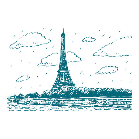 architecture drawing: The Eiffel tower in Paris, France. Vector hand drawn sketch.