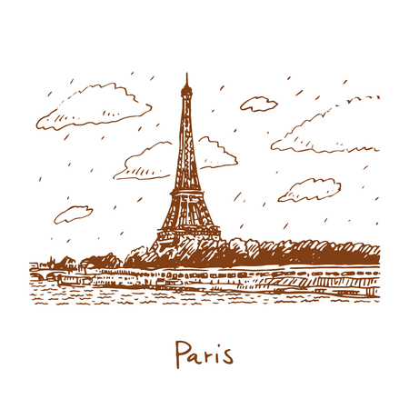 The Eiffel tower from the river Seine in Paris, France. Travel Paris icon. Hand drawn sketch. Illustration