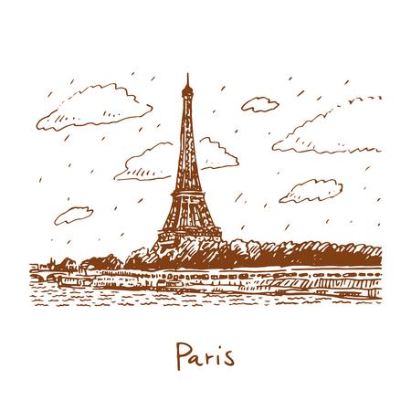 seine: The Eiffel tower from the river Seine in Paris, France. Travel Paris icon. Hand drawn sketch. Illustration