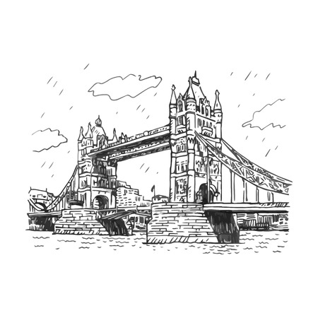 london tower bridge: Tower Bridge, London, England, UK. Hand Drawn Illustration.