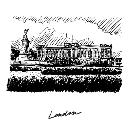 Buckingham Palace and Victoria Memorial, London, England, UK. Hand drawn vector sketch.