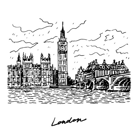 london tower bridge: Palace of Westminster, Elizabeth Tower Big Ben and Westminster Bridge. London, England, UK. Vector freehand pencil sketch.