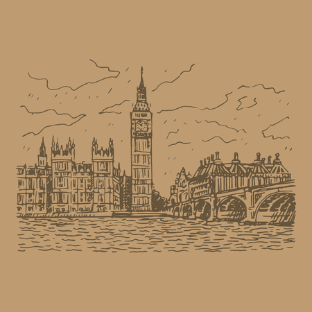 elizabeth tower: Palace of Westminster, Elizabeth Tower Big Ben and Westminster Bridge. London, England, UK. Vector freehand pencil sketch.