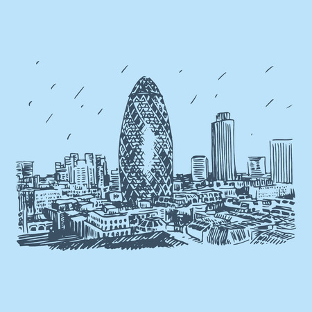 landscape architecture: View of Gherkin building 30 St Mary Axe. The City of London, England, UK. Vector freehand pencil sketch.