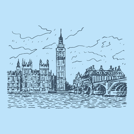 the palace of westminster: Palace of Westminster, Elizabeth Tower Big Ben and Westminster Bridge. London, England, UK. Vector freehand pencil sketch.