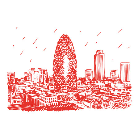 gherkin: View of Gherkin building 30 St Mary Axe. The City of London, England, UK. Vector freehand pencil sketch.
