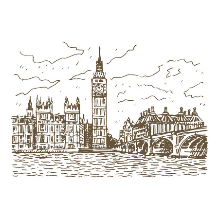 thames: Palace of Westminster, Elizabeth Tower Big Ben and Westminster Bridge. London, England, UK. Vector freehand pencil sketch.