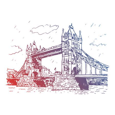 london   england: Tower Bridge, London, England, UK. Hand Drawn Illustration.