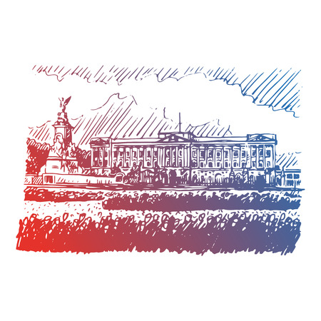 formal garden: Buckingham Palace and Victoria Memorial, London, England, UK. Hand drawn vector sketch.