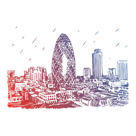 30 st mary axe: View of Gherkin building 30 St Mary Axe. The City of London, England, UK. Vector freehand pencil sketch.