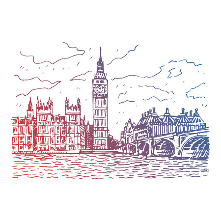 Palace of Westminster, Elizabeth Tower Big Ben and Westminster Bridge. London, England, UK. Vector freehand pencil sketch.