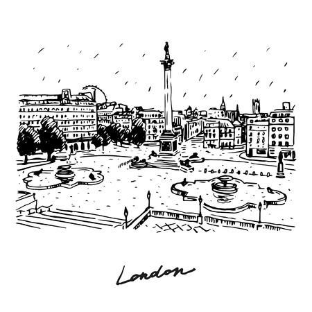 trafalgar: Trafalgar Square, London, England, UK. Hand drawn vector illustration.