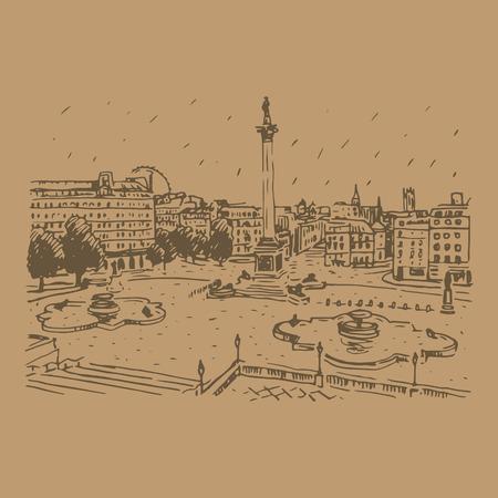 london england: Trafalgar Square, London, England, UK. Hand drawn vector illustration.