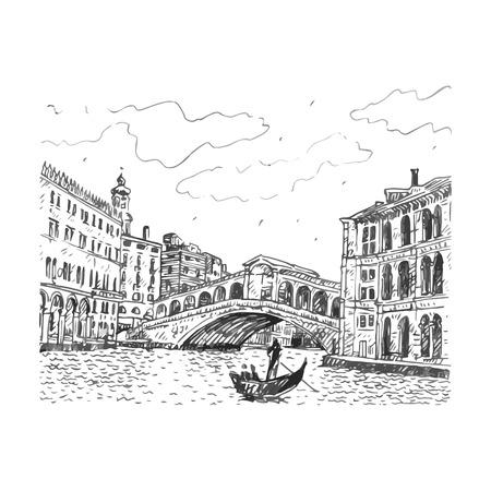 The Rialto Bridge in Venice, Italy. Vector hand drawn sketch.