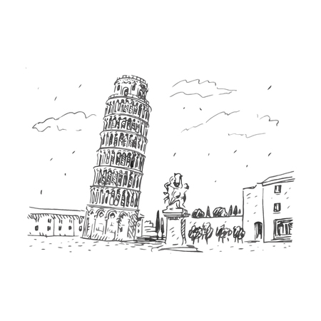 Leaning Tower of Pisa, Italy. Vector hand drawn sketch.