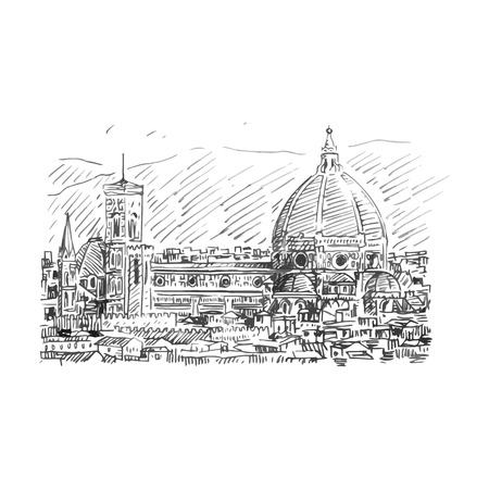 Vector hand drawn sketch. Cathedral of Saint Mary of the Flower in Florence, Italy. Vetores