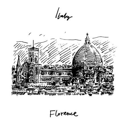 florence   italy: Vector hand drawn sketch. Cathedral of Saint Mary of the Flower in Florence, Italy.
