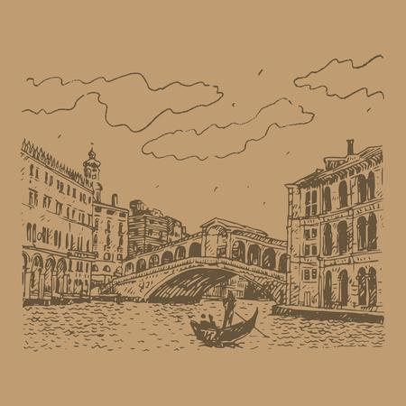 rialto: The Rialto Bridge in Venice, Italy. Vector hand drawn sketch.