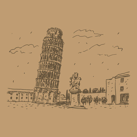 italy landscape: Leaning Tower of Pisa, Italy. Vector hand drawn sketch.