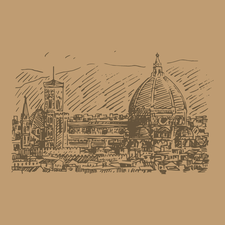 duomo of florence: Vector hand drawn sketch. Cathedral of Saint Mary of the Flower in Florence, Italy.