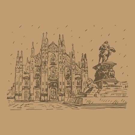 milan: Milan Cathedral with statue, Italy. Vector hand drawn sketch.