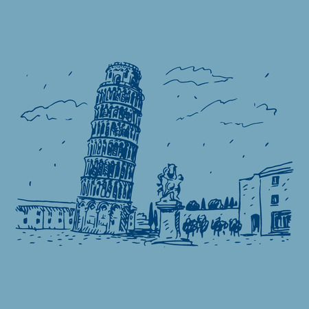 tilting: Leaning Tower of Pisa, Italy. Vector hand drawn sketch.