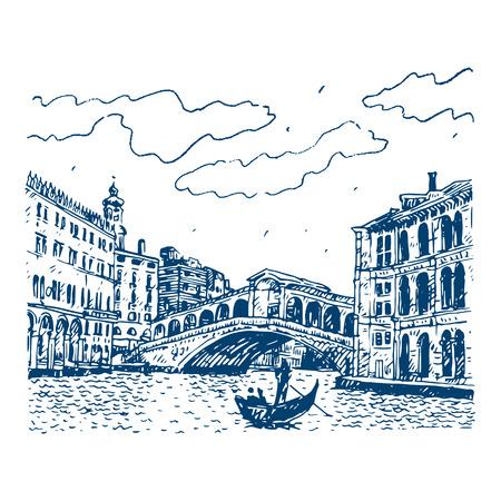 venice italy: The Rialto Bridge in Venice, Italy. Vector hand drawn sketch.