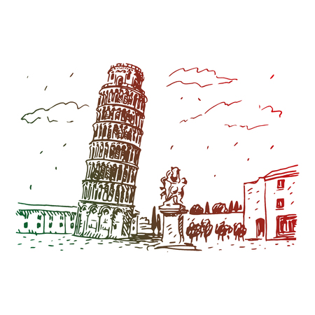 balcony view: Leaning Tower of Pisa, Italy. Vector hand drawn sketch.