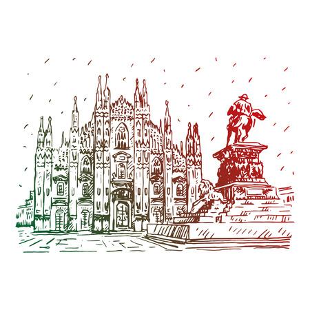 Dom van Milaan met standbeeld, Italië. Vector hand getrokken schets.