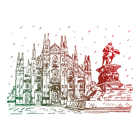 cathedrals: Milan Cathedral with statue, Italy. Vector hand drawn sketch.