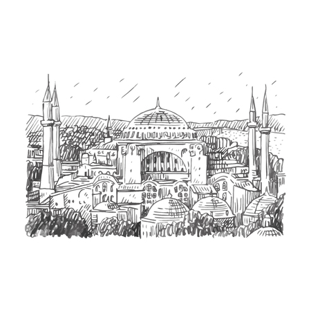 hagia sophia: Hagia Sophia, Istanbul, Turkey. Vector freehand pencil sketch.