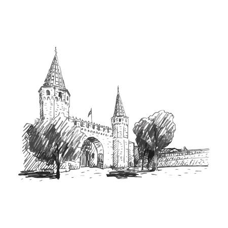 turquia: Topkapi Palace, puerta de Tratamiento, Estambul, Turqu�a. Vector l�piz a mano alzada dibujo. Vectores