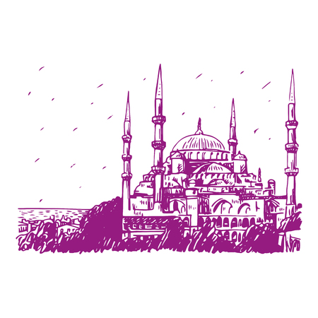 splendour: Blue Mosque, Istanbul, Turkey. Vector freehand pencil sketch.