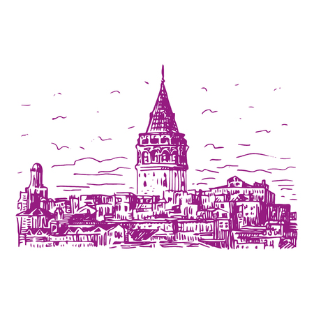 romanesque: Galata Tower, Istanbul, Turkey. Vector freehand pencil sketch. Illustration