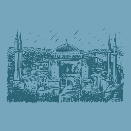 아야 소피아, 이스탄불, 터키. 벡터 프리 핸드의 연필 스케치.