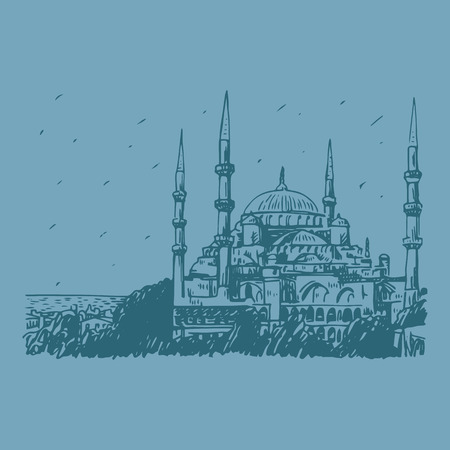 Blue Mosque, Istanbul, Turkey. Vector freehand pencil sketch.