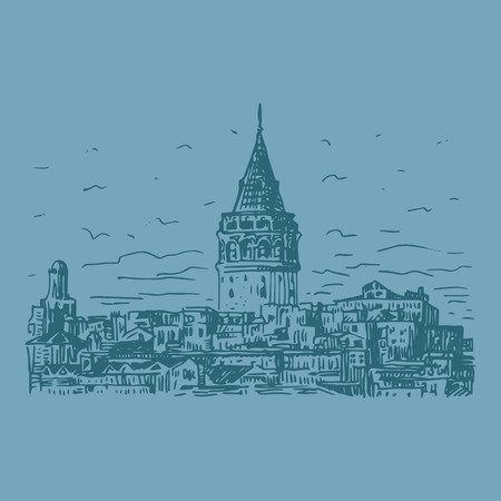 istanbul: Galata Tower, Istanbul, Turkey. Vector freehand pencil sketch. Illustration
