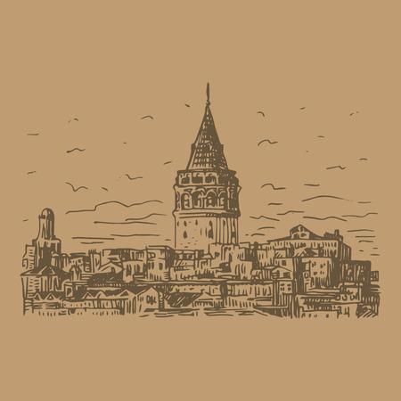 Galata Tower, Istanbul, Turkey. Vector freehand pencil sketch. Ilustração