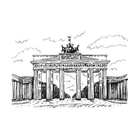 브란덴부르크 문, 베를린, 독일. 벡터 손 스케치를 그려. 스톡 콘텐츠 - 51833924