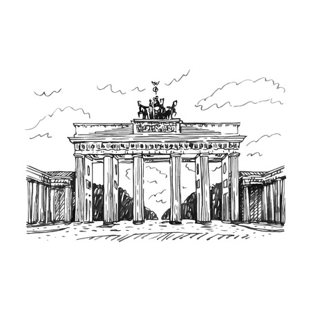 Brandenburg gate, Berlin, Germany. Vector hand drawn sketch.