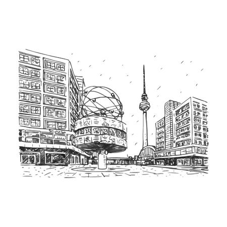 TV-toren en wereldklok op de Alexanderplatz station, Berlijn, Duitsland. Vector hand getrokken schets.