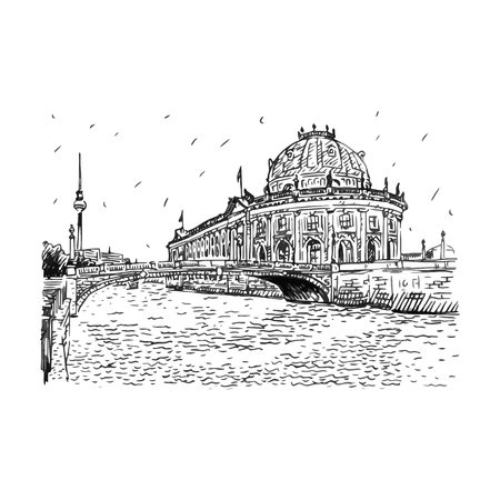 Bode museum on Spree river and Alexanderplatz TV tower in center of Berlin, Germany. Vector hand drawn sketch. Stock fotó - 51833926