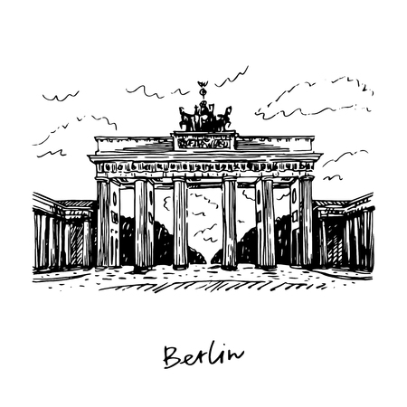 Brandenburg gate, Berlin, Germany. Vector hand drawn sketch.